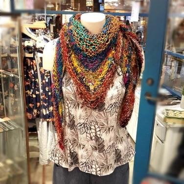 Silk Sari Hand Knit Scarf