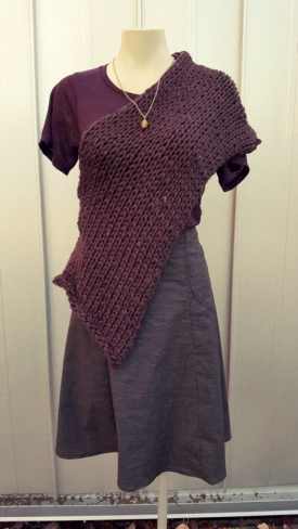 Wrap worn as a poncho over Lumiere top tucked in.