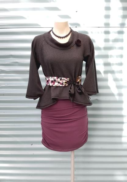 Pearl Necklace, Felt Rose pin, Western Sweater, Bow Belt, Vanja Dress