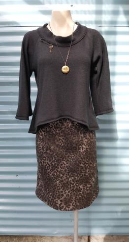 Western Sweater, Brass Kilt Pin Broach, Lovenote Brass Locket, Dasha Leopard Print Skirt