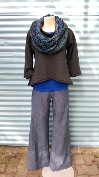 Hand Knit Long Circle Scarf, Fable Raglan Long Sleeve Top, Wide Leg Linen Trousers, Western Sweater